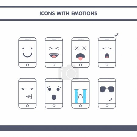 Icons with emotions in the form of smartphones