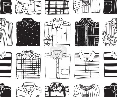 Illustration for Cartoon vector hand drawn shirts. Contour background - Royalty Free Image