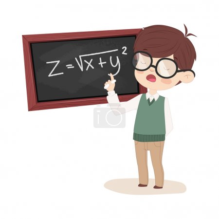 Girl solving a math equation