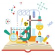 Vector illustration of open book with science elem...