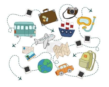 Illustration pour Concept de voyage du monde milieux ensemble . - image libre de droit