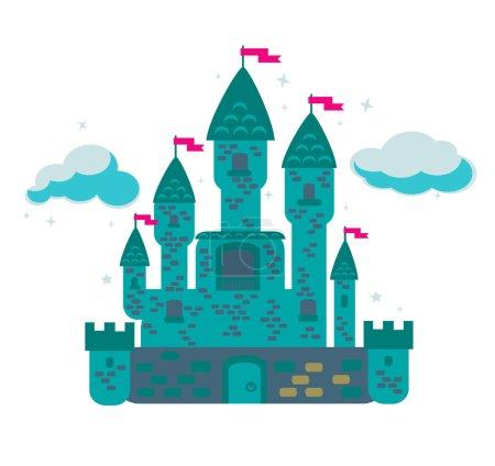 Magical fabulous cartoon castle.