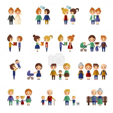 Family figures flat icons set