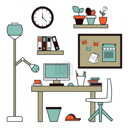 Modern creative office workspace with computer.