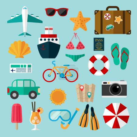 Illustration for Summer and beach icons set, rest, vacation and entertainment during summer time - Royalty Free Image
