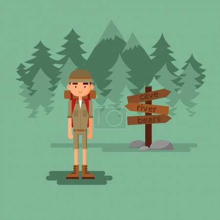 boy travels in forest.