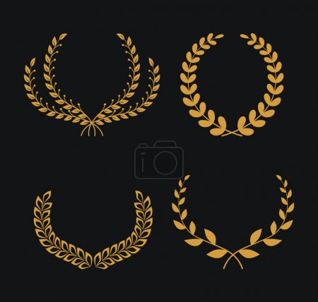 Illustration for Laurel Wreaths on black background Vector Collection - Royalty Free Image