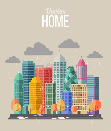 Illustration for Autumn city flat style Color illustration - Royalty Free Image