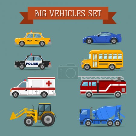 Illustration for Cars icon set concept transportation.Vector flat design - Royalty Free Image