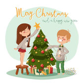 Illustration of a Family Decorating a Christmas Tree