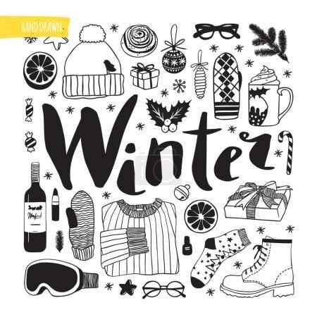 Winter season themed doodle set