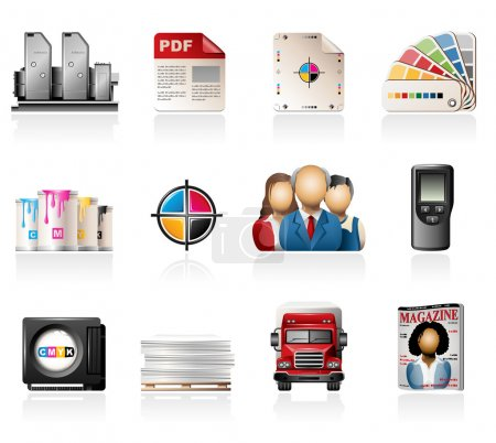 Offset Printing Icon Set