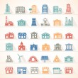 Flat buildings icon set...