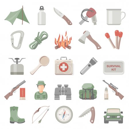 Illustration for Hunting and bushcraft icon set - Royalty Free Image