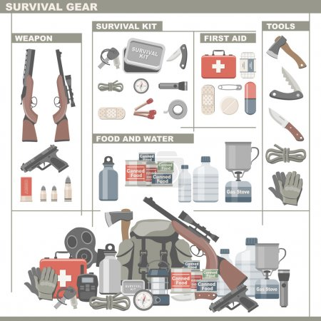Illustration for Survival and Emergency Gear - Royalty Free Image