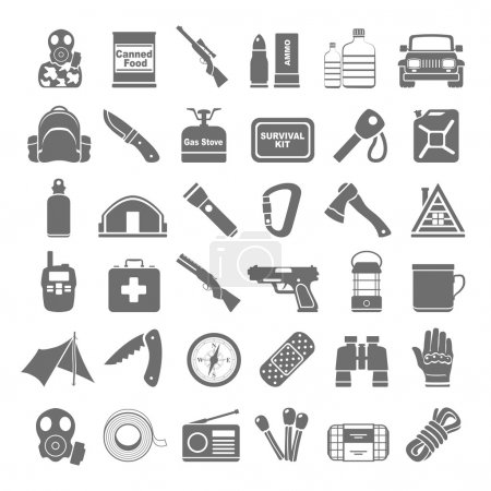 Illustration for Doomsday preppers icons - Royalty Free Image