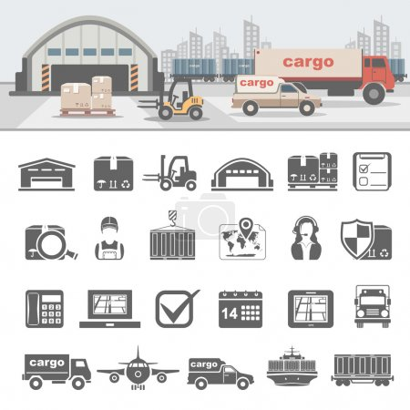 Illustration pour Icônes de la logistique - image libre de droit