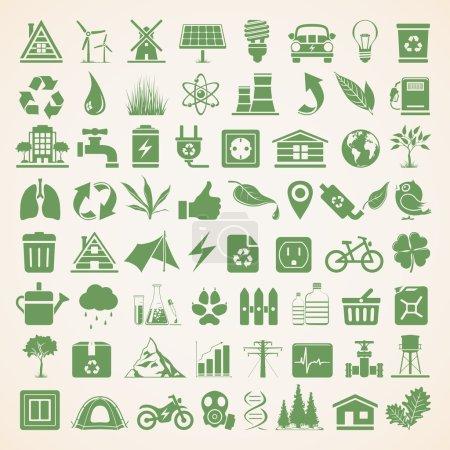Illustration pour Ensemble d'icônes pour la conservation environnementale - image libre de droit