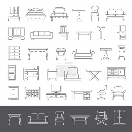 Photo for Furniture icon set - outline series - Royalty Free Image