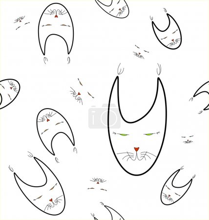 cats faces seamless