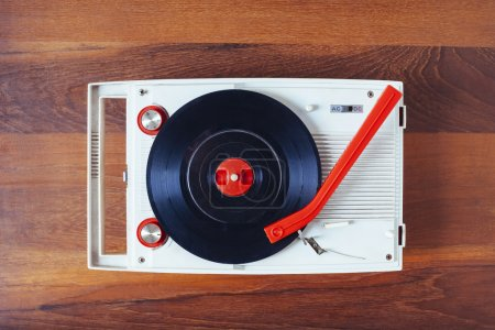 Vinyl record player Vintage retro object Top view