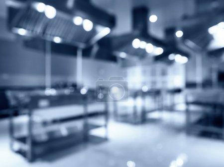 Blurred Modern Kitchen Appliance Interior in Hotel