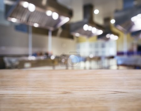 Blurred Kitchen background with Table top Counter Mock up