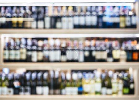 Blurred Wine Liquor bottles on shelf Wholesale Retail shop
