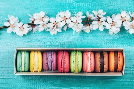 Photo for Colorful macaroons in paper box lying on turquoise wooden background - Royalty Free Image