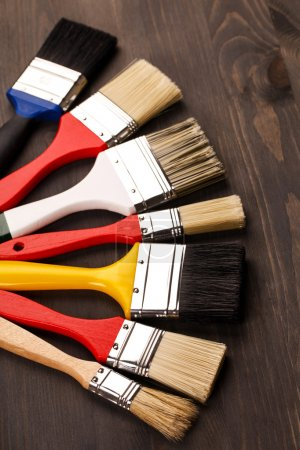 Multicolored paint brushes