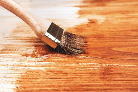 Half painted wooden boards