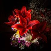 Red Daylily Arrangement with Other Flowers