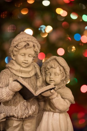 Christmas Carolers with Lights - Vertical