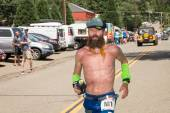 FORESTHILL CA June 27, 2015 - Man Running in Western States 100-Mile Endurance Run