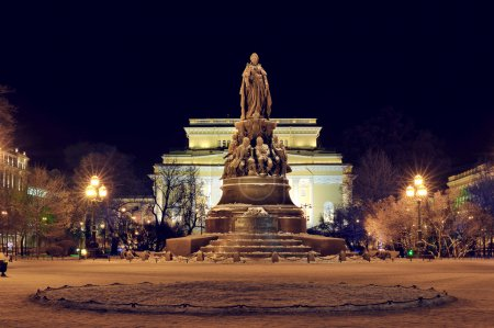 night view of the Alexandrinsky theater and the monument to Cath