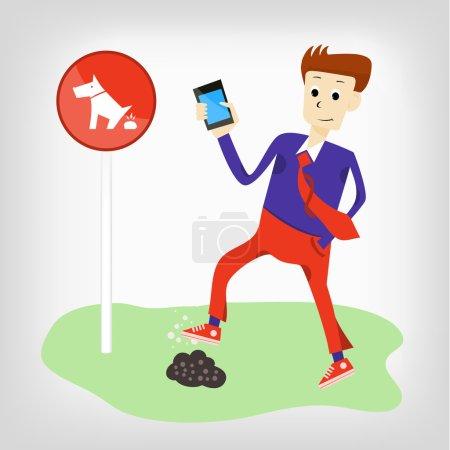 Illustration pour L'homme drôle avec un téléphone vient dans le caca du chien. panneau interdisant la promenade en chien - image libre de droit