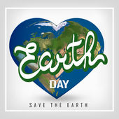 Greeting card with Earth day. Earth in heart shape