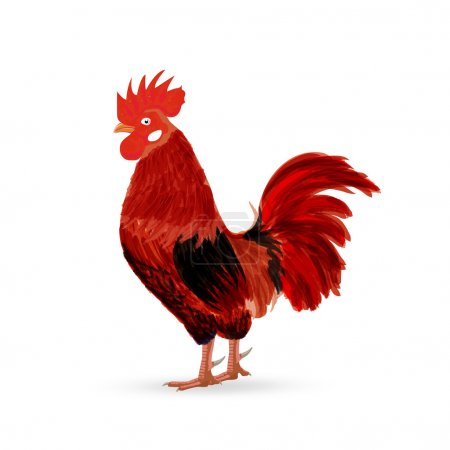 Red Rooster as animal symbol of Chinese New year 2017