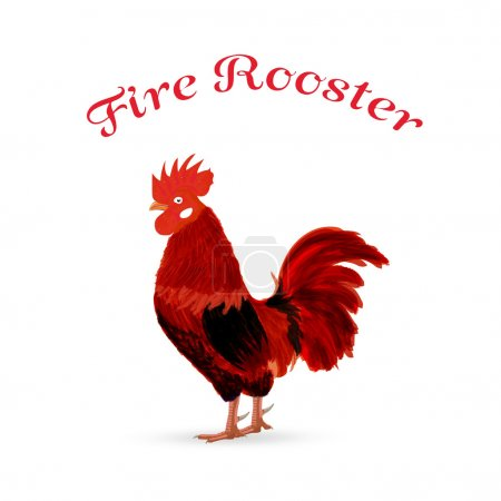 Fire Red Rooster as animal symbol of Chinese New year 2017