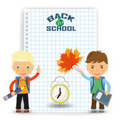 Back to school design two boys - student and clock show the time to go to school - Vector illustration
