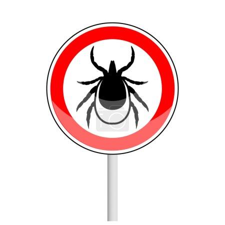 Illustration for Warning tick danger stop sign - Royalty Free Image