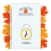Back to school design on a piece of paper alarm - clock show the time to go to school - Vector illustration