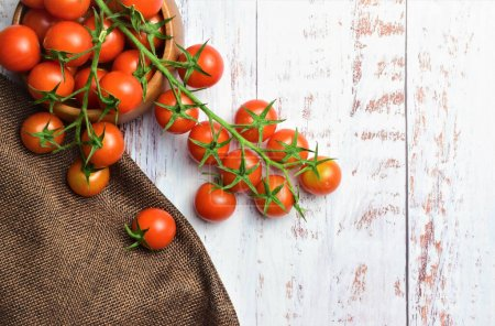 Photo pour Cherrys tomates sur branche sur des planches de bois blanc, espace pour le texte - image libre de droit