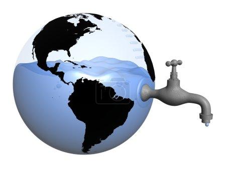 Foto de 3D imagen fotorrealista del globo transparente con agua adentro y grifo - Imagen libre de derechos