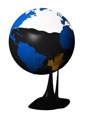Foto de 3D imagen fotorrealista del globo con aceite dentro, fugas - Imagen libre de derechos