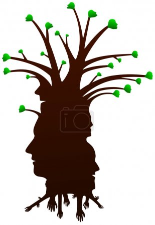 Vector drawing tree of human silhouette heads...