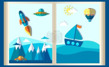 Illustration pour Le livre de voyage. Concept d'imagination - livre ouvert avec fusée, dragon, ballon à air. illustration vectorielle plate . - image libre de droit