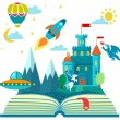 Imagination concept - open book with rocket, castl...