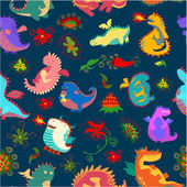 pattern with flowers and dragons