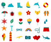 summer travel and tourism icons